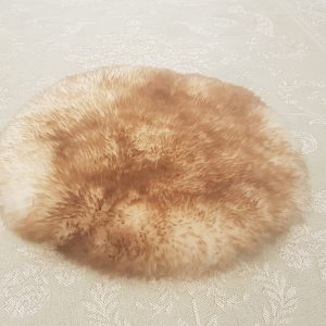 White Brown Round Sheepskin Rug