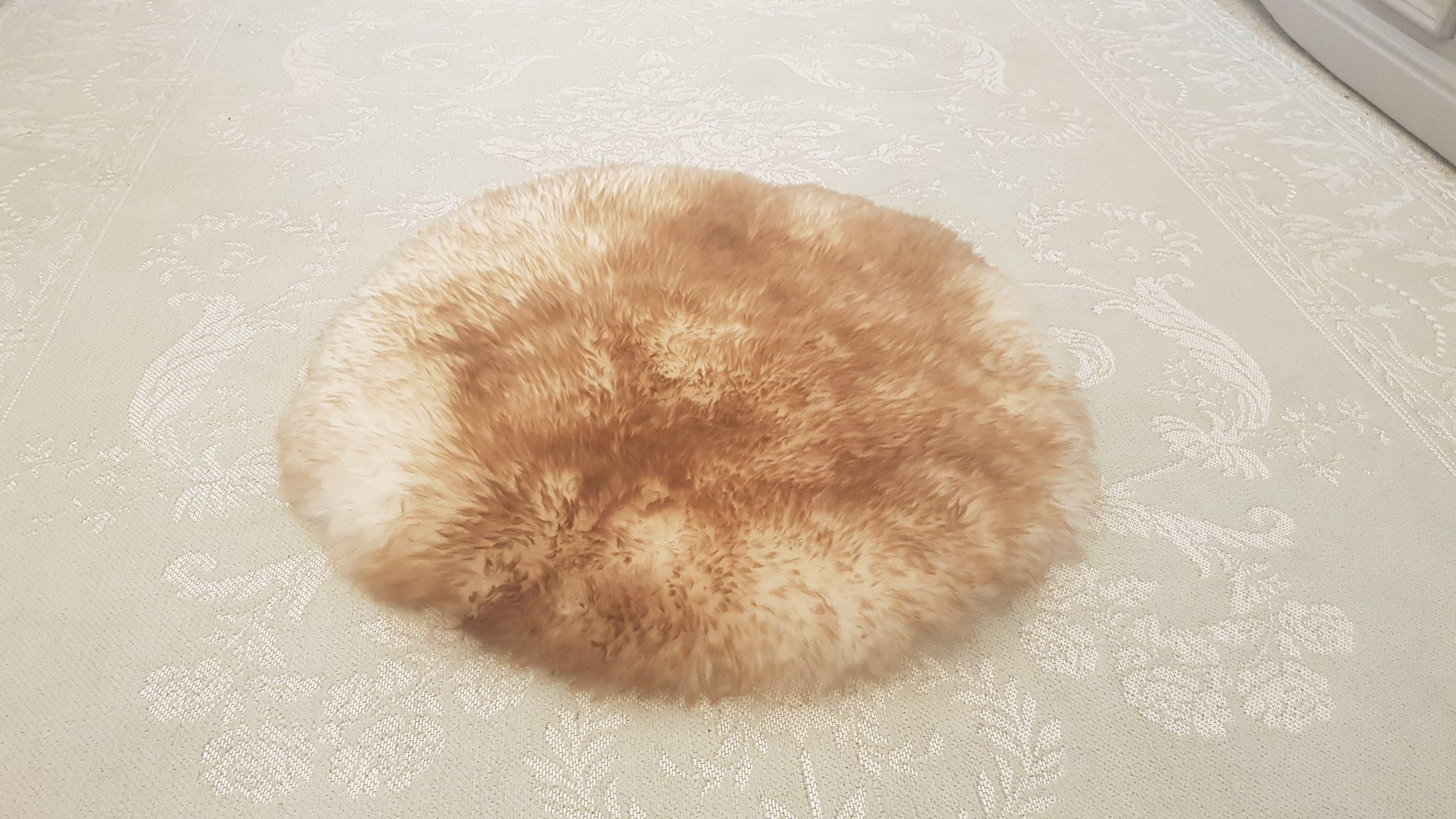 White Brown Round Sheepskin Rug