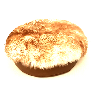 Luxury Leather Cat Bed and Sheepskin Rug (White Brown)