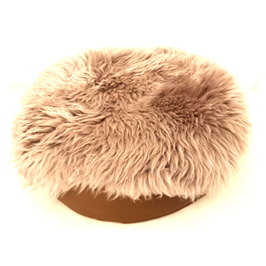 Luxury Leather Cat Bed and Sheepskin Rug (Grey)
